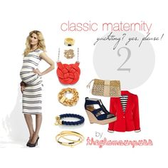 A nautical spin on maternity wear. The non-maternity jacket can be worn open over the striped dress. Add in some gold, plaiting, and an anchor or two. Let's go yachting!