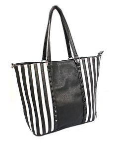 ★ Perky Stripes ★ Simple Style Black and White Stripe Rivet Shoulder Bag