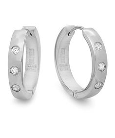 Take a look at this Diamond & Stainless Steel Thick Hoop Earrings by HMY Jewelry on #zulily today!