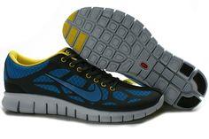 size 40 29e3f 67c2e Nike Free 4.0 Mænd Blå Mørk Grå Sko Yellow Nikes, Grey Yellow, Dark Grey