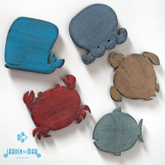 "Wooden handmade magnets: ""Sealife"" - handcrafted by Jardíndelmar.es in Lanzarote (Canary Islands) #magnets #lanzarote #handmade #recycled #wood #madera #imanes #sealife"