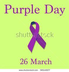 Purple Day epilepsy awareness. Purple ribbon. Isolated vector illustration.