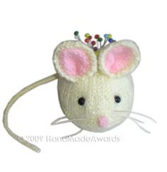 THE  WHITE MOUSE Pincushion Pdf Email Knit by HandMadeAwards, $2.00  Cute beyond words!