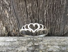 Vintage .925 Sterling Silver Triple Heart Size 8 Ring. by VintageNprints on Etsy https://www.etsy.com/listing/521047350/vintage-925-sterling-silver-triple-heart