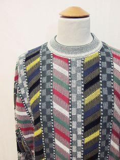 Vintage 1980s Ethnic Geometric Street Style Indie Hip Hop Folk Jumper Sweater XL
