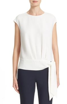 Lafayette 148 New York Seraphina Tie Waist Silk Blouse available at #Nordstrom