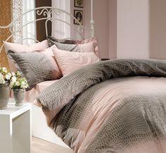 bepoe - 100% Cotton 4pcs Powder Pink Classic Full Double Size Duvet Quilt Cover Set