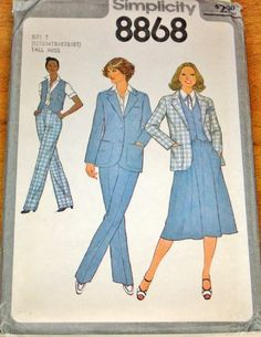 Simplicity 8868 Tall Womens Blazer Jacket Skirt Vest Pants Vintage 1970s Separates Sewing Pattern Bust 34-40 Size 12T-18T Uncut Factory Fold