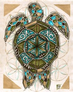tribal art and culture 6 (sea turtle, mosaic) Polynesian Tribal, Polynesian Tattoos, Geometric Designs, Geometric Art, Sea Turtles, Tortoises, Arte Tribal, Tribal Art, Hippie Art