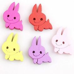 50x 100520 New Charms Cute Rabbit Wooden Sew-on Buttons Fit Crafts DIY ON SALE