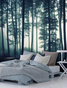 """Vlies Fototapete, Fototapete aus Vlies """"Dark Forest"""" -  Dunkler Wald, Landschaft. Top moderne Wanddeko fuer Ihr Schlafzimmer!"""