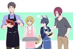 Baking together ... Drawn by lesfrites ... Free! - Iwatobi Swim Club, free…