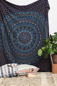 Tapestry, Blue coloured Mandala Hippie Tapestry, Hippie Boho Wall Hanging, Indian Bedspread Bed Sheet Cover, Bohemian Cotton Coverlet Throw by Sparshh on Etsy