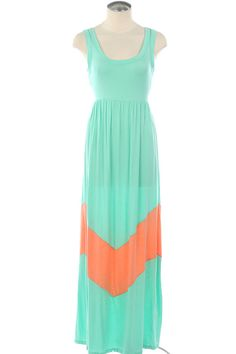 Popular Mint Chevron Stripe Maxi Dress $37  Great for summer BBQs and pool parties!!