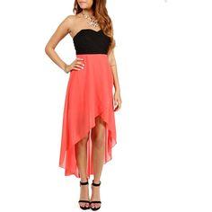 Black/Coral Hi Low Prom Dress