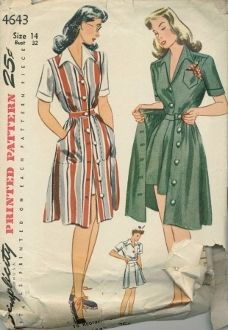 An unused original ca. 1940's Simplicity Pattern 4643.  Misses' and Women's Shorts, Skirt, Blouse and Jumper. The blouse, fitted at the waistline, has a shoulder yoke and short sleeves with a cuff. The shorts have pleats in the front and back and are joined to a waist band at the upper edge. The skirt and jumper, buttoned down the front are trimmed with large side pockets. The inset belt releases the soft fullness of the jumper skirt. The separate skirt is finished with a belt.