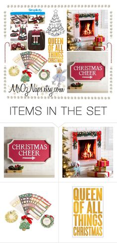 """Queen of all things Christmas"" by cristianaradu ❤ liked on Polyvore featuring art, Christmas, handmade, craftSupplies and etsyfru"