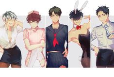 Captain squad as girls. As usual Kuro is ero. Oikawa is sly as ever in that nurse costume, Bokuto so cute in that outfit, Ushijima just working that sailor uniform and Daichi so sexy in that uniform Haikyuu Funny, Haikyuu Manga, Haikyuu Fanart, Kagehina, Iwaoi, Volleyball Anime, Haikyuu Volleyball, Anime Boys, Hinata