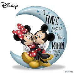Mickey Mouse Pictures Disney Mickey Mouse And Minnie Mouse I Love You To The Moon And Back Figurine By The Hamilton Collection Mickey And Minnie Love, Mickey Mouse And Friends, Mickey Minnie Mouse, Disney Style, Disney Love, Disney Art, Mickey Mouse Wallpaper, Disney Wallpaper, Disney Images