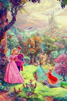 Mickey and Company — Disney Fine Art - Thomas Kinkade phone. Disney Princess Drawings, Disney Princess Art, Disney Princess Pictures, Disney Drawings, Princess Aurora, Anime Princess, Princess Bubblegum, Disney Princesses, Thomas Kinkade Disney