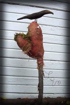 Prim Crow...on a stick...with grungy red burlap heart...