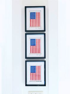 DIY Fourth of July decorations. Frame small flags and display as artwork. If you're hosting a party, make extra framed flags, write the date of the party on the mat, and give one to each guest as a party favor.