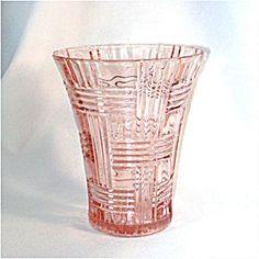 Hocking Pink Depression Glass Prismatic Criss Cross Vase