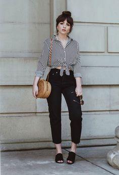Alice Catherine - camisa-listrada-calça-preta-mule - listras - meia estação - street style