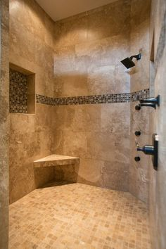 Mediterranean Master Bathroom with MS International Ivory Travertine 2x2 Honed And Filled In 12x12 Mesh, Jet Shower Head