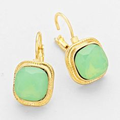 Gold and Green Crystal Stone Earrings