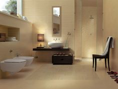 Bathroom, Brown Cabinet Chair Chrome Shower Head Glass Stalls Glass Wall White Toilet Seat Corner Sink Flower Vase Wall Mirror And Brown Yellowish Ceramic Floor ~ Various Bathroom Interior Design: a Place to Indulge Yourself Under