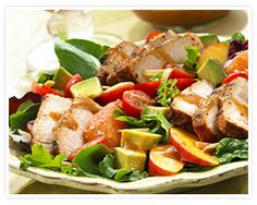 Perfect use for leftover pork chops! I switched out nectarines for oranges and what an amazing salad! The dressing is so tasty! BBQ Pork Salad with Summer Fruits & Honey Balsamic Vinaigrette Recipe Pork Recipes, Salad Recipes, Healthy Recipes, Fun Recipes, Healthy Salads, Veggie Recipes, Healthy Foods, Sides For Fish Tacos, I Love Food