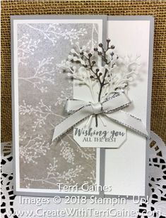 Today's card is a super easy card to make using the new Frosted Floral suite in the Stampin' Up! The Frosted Floral Specialty Designer Series Paper is very elegant with a textured design printed on a shimmery white paper… all the de Christmas Cards 2018, Xmas Cards, Holiday Cards, Wedding Anniversary Cards, Wedding Cards, Happy Anniversary, Tarjetas Stampin Up, Stamping Up Cards, Wedding Card Design