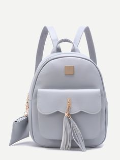 SheIn offers Grey Embellished Pocket Front PU Backpack & more to fit your fashionable needs. Cute Mini Backpacks, Grey Backpacks, Stylish Backpacks, School Backpacks, Backpack Purse, Leather Backpack, Backpack Online, Small Backpack, Fashion Bags