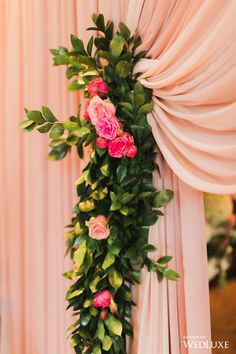 Lovely blush colored curtains; roses among pinnated leaves