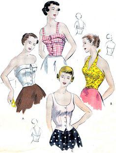 1940s Womens Blouse Pattern Vogue 6718 Strapless by paneenjerez, $50.00