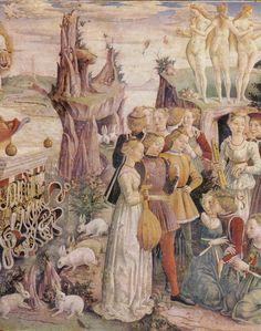 Francesco del Cossa (1435-1478) 'Allegory of April' - detail, fresco Palazzo Schifanoia, Ferrara, Italy