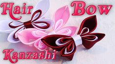 DIY Kanzashi hair bow, Ribbon hair bow, how to make, tutorial