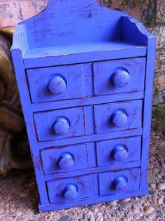 Shabby Blueberry Upcycled Vintage Trinket Jewelry Box Organizer 4 Drawer Funky Home Decor