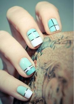 And these sexy Latest Easy Nail Art Designs for Short Nails 2016 will make your cute nails the next most beautiful thing on earth after you. Simple Nail Art Designs, Short Nail Designs, Easy Nail Art, Fancy Nails, Love Nails, My Nails, Aqua Nails, Matte Nails, Green Nails