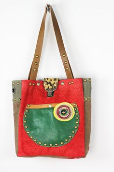 Leather Tote Bag Red Green Brown/ Red Leather Shoulder Bag