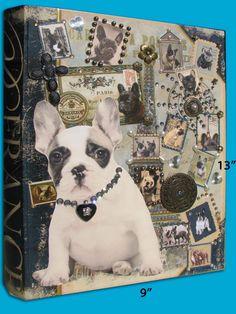 Large Embellished Parisian Book Box with Vintage French Bulldog images  https://www.etsy.com/listing/154390464/large-embellished-parisian-book-box-with?