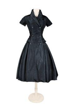 Dior, Black Silk Faille Cocktail Dress.   Automne-Hiver, 1954.