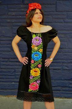Multicolor Embroidered Off Shoulders  Dress Black by Vtgantiques
