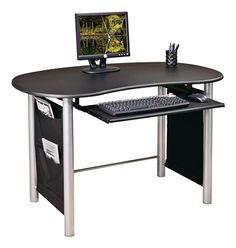 OSP Designs Saturn Desk Mixed Media Workstation 30 H x 47 34 W x 27 12 D Black by Office Depot & OfficeMax