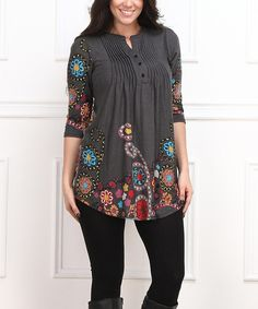Look at this Charcoal Floral Notch Neck Tunic - Plus on #zulily today!