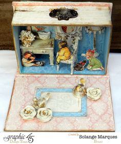 Altered box by Solange Marques using G45 Book Box staple & Children's Hour #graphic45