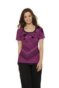 "Baby Phat Women's Scoop Neck Print Scrub Top in ""Spot That Dot"" 26911C-SMTHA Scoop neck top features a two in one effect. Its contrast neckline and bottom hem flange give a double layered effect. Side angled pockets, center back elastic, and pinch darts around the neck add shape and perfect this top. Center back length: 25 1/2"".  $24.50  #scrubs #scrubcouture #nurses #babyphat"
