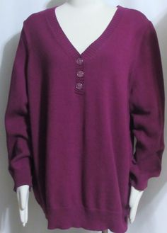 NEW Womens Ladies Plus KAREN SCOTT Purple 100% Cotton Henley Sweater Top 2X  #KarenScott #Henley #Versatile