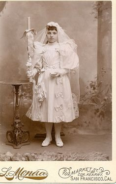 Girl holds a communion candle | San Francisco Cabinet card